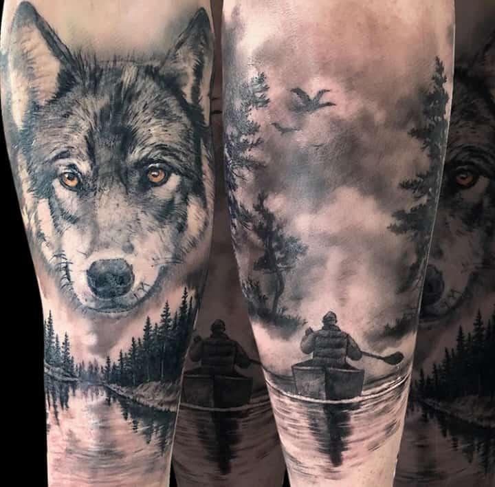 тату лодка волк