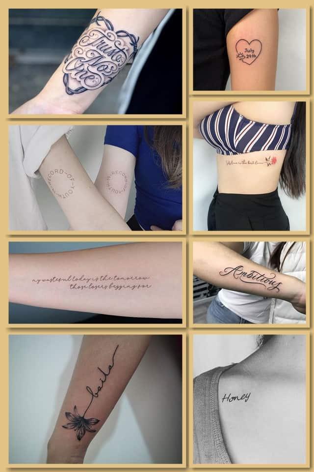 женские надписи тату