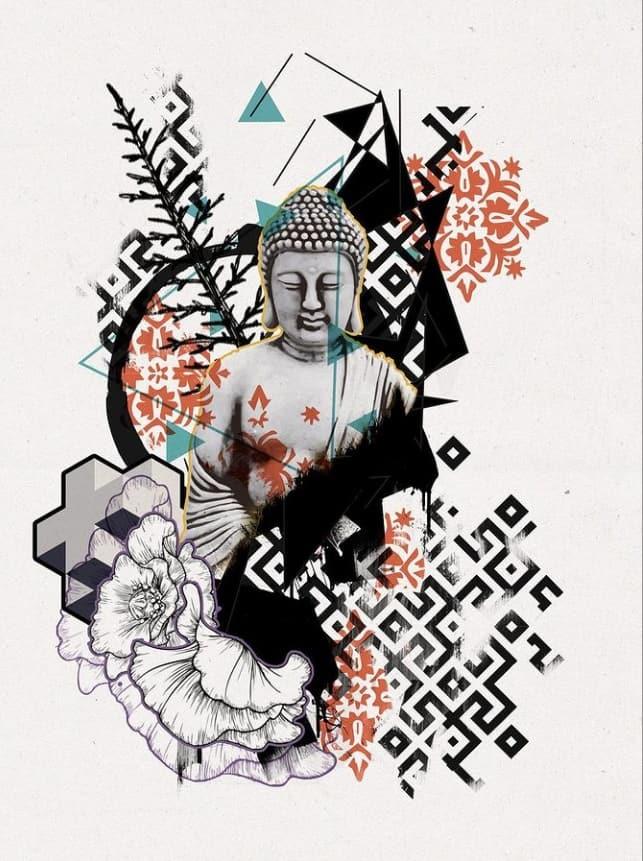 эскиз тату будда
