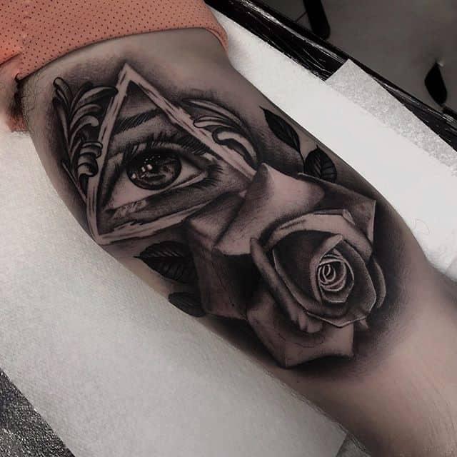 тату всевидящее око и роза
