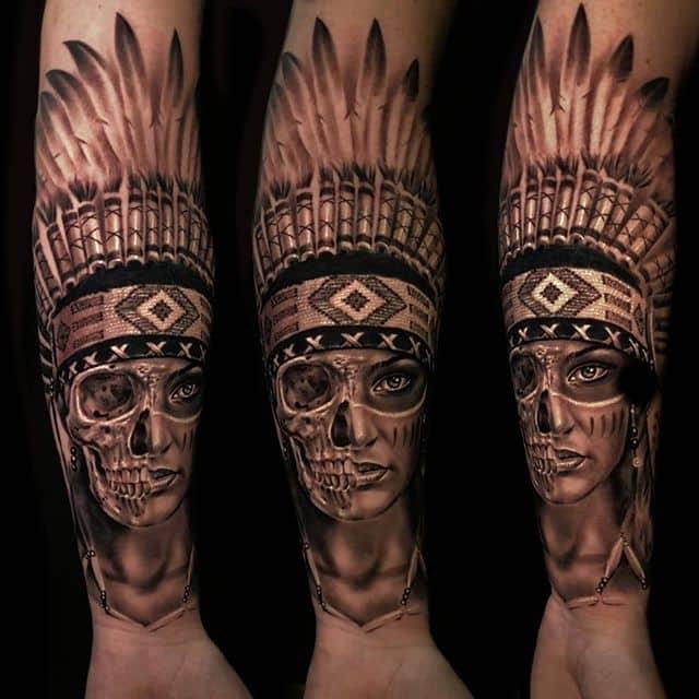 вождь индейцев череп тату
