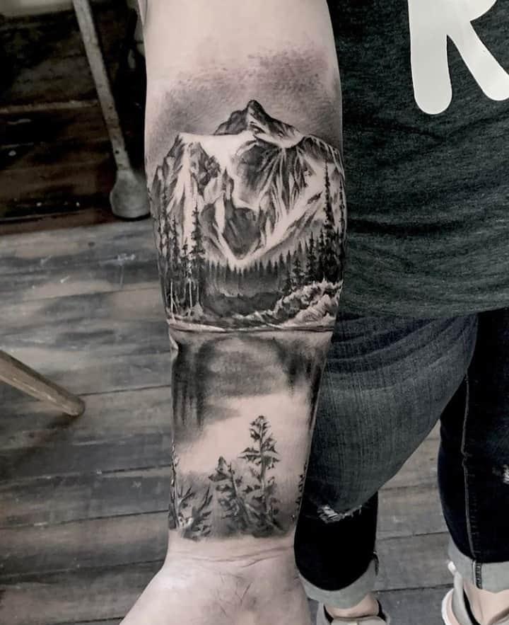 пейзаж горы тату