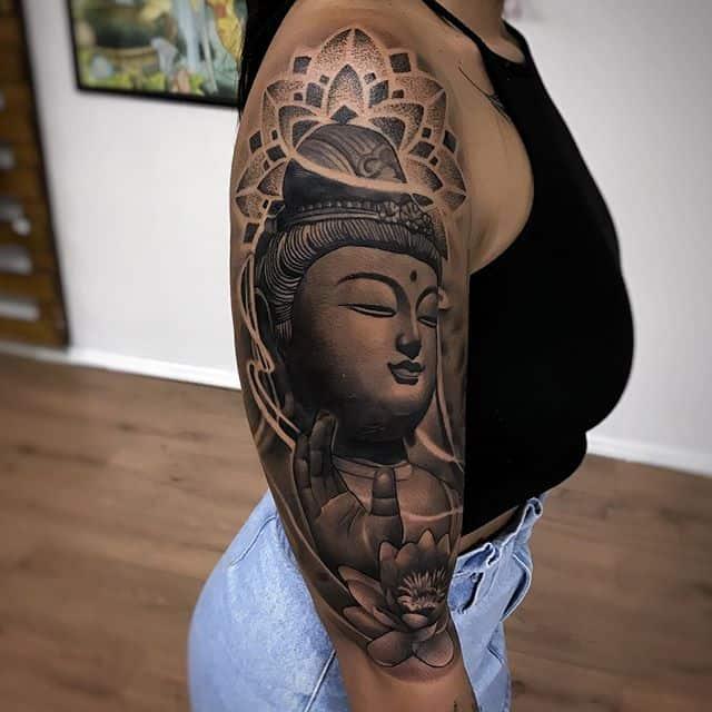 будда тату на плече