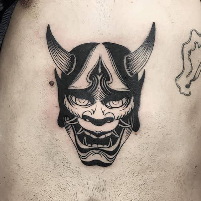 тату японский демон чб