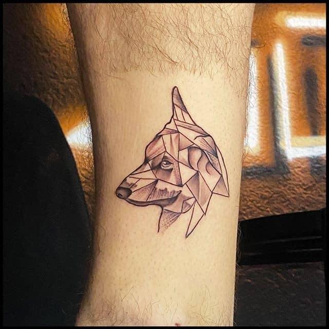 Тату оригами собака