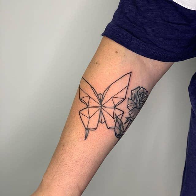 Тату оригами бабочка