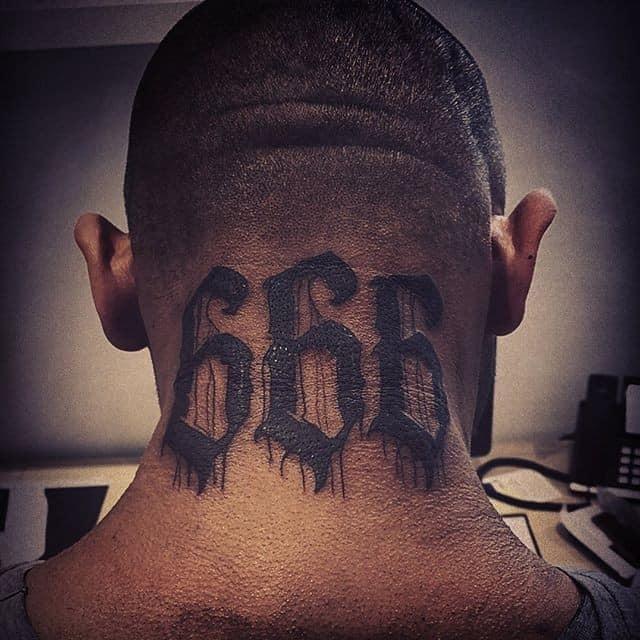 тату 666 на голове