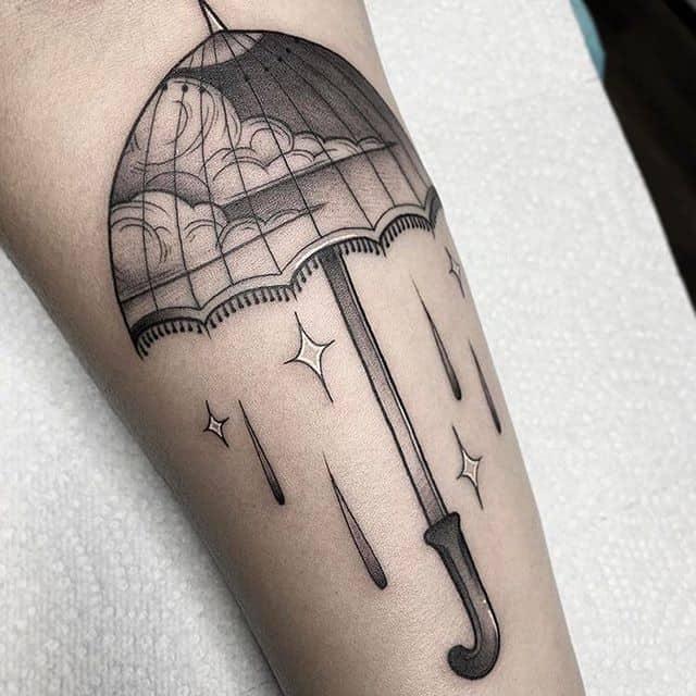 тату зонт чб