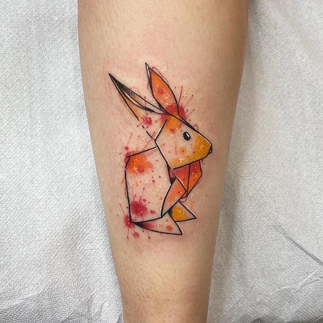 Тату оригами заяц