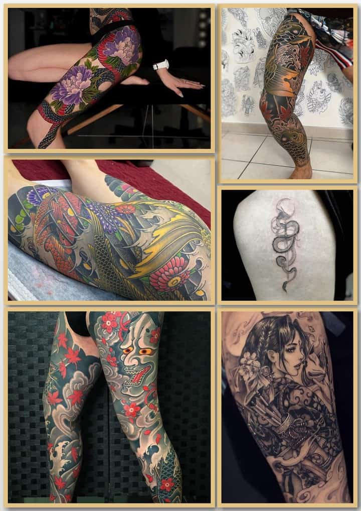японские тату на ноге
