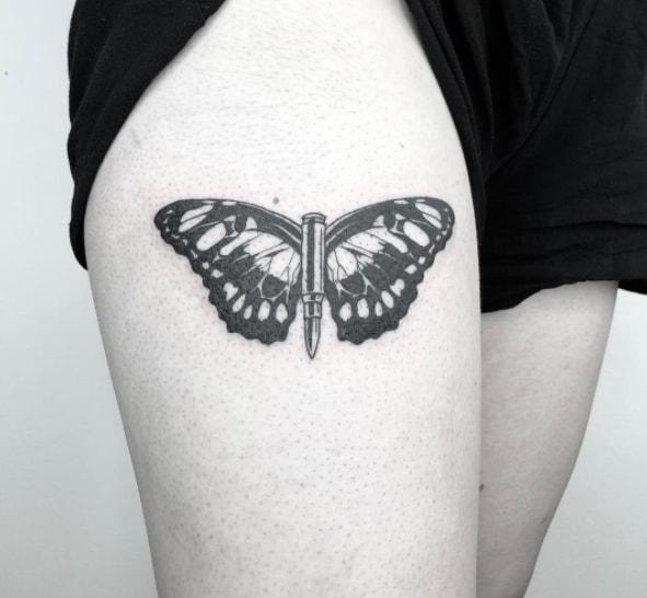 пуля бабочка тату
