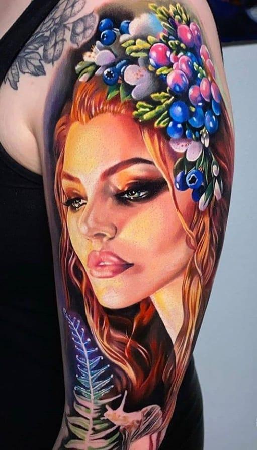 классное тату портрет