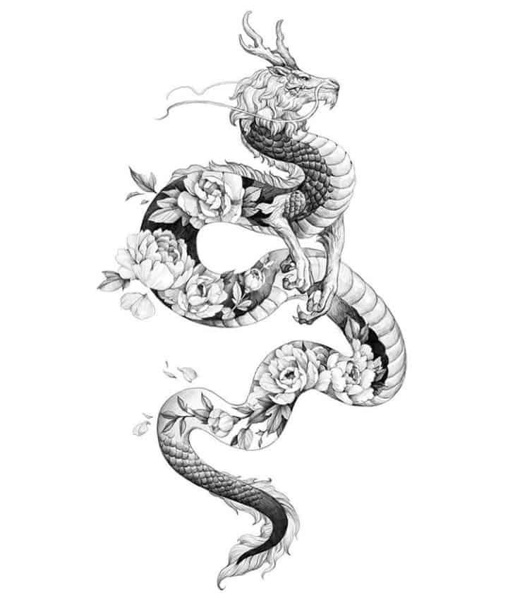 Тату образец дракон