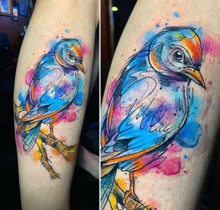 женское тату птица