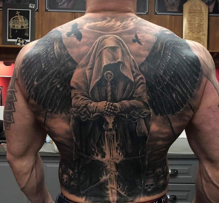 ангел смерти тату на спине