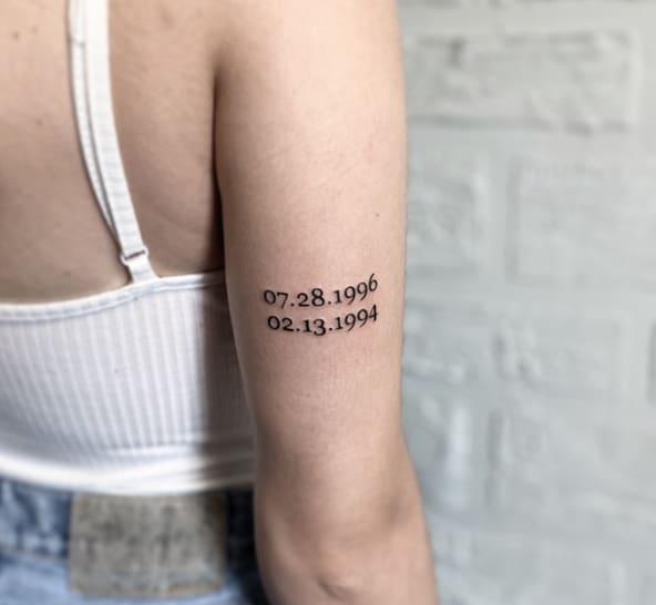 дата рождения тату на плече