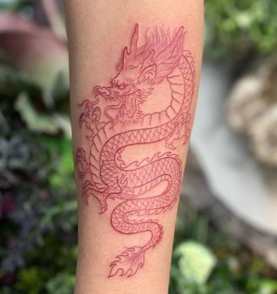 дракон минимализм тату красный