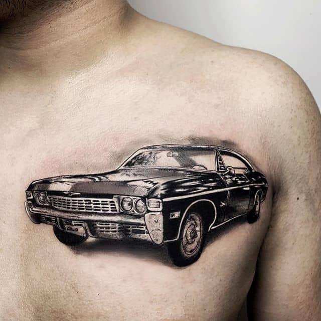 автомобиль тату на груди