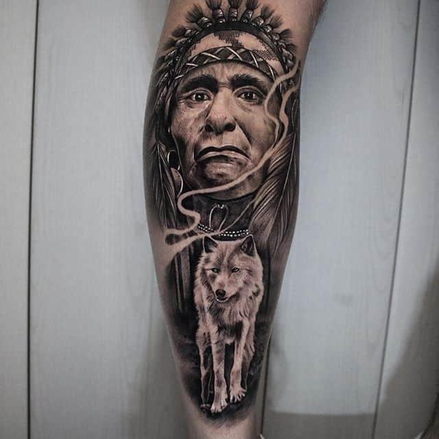 индеец с волком тату