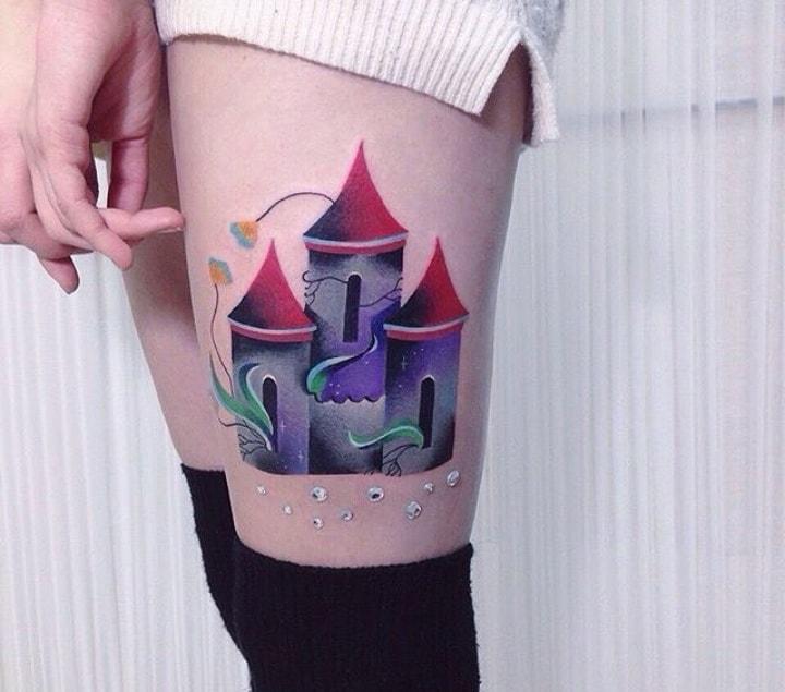 цветной замок тату