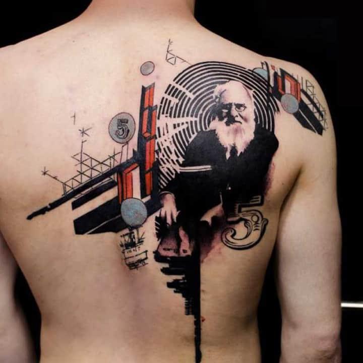 фотошоп стиль тату с портретом